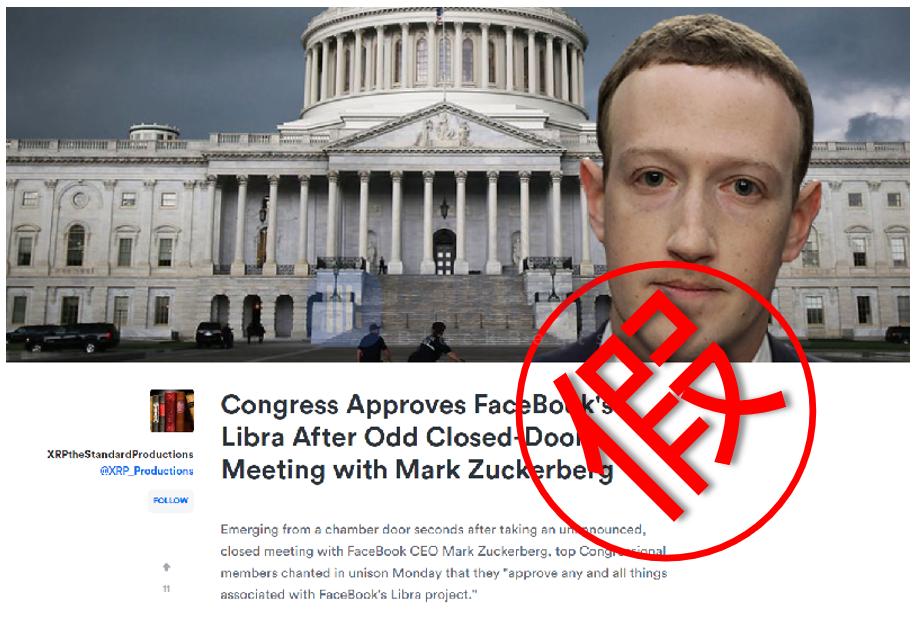 辟谣:美国会闭门会议通过Libra为讽刺文章